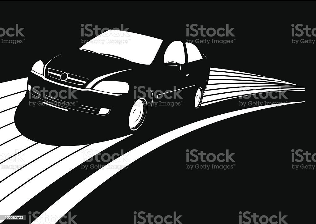 Black car running fast over a white road royalty-free stock vector art
