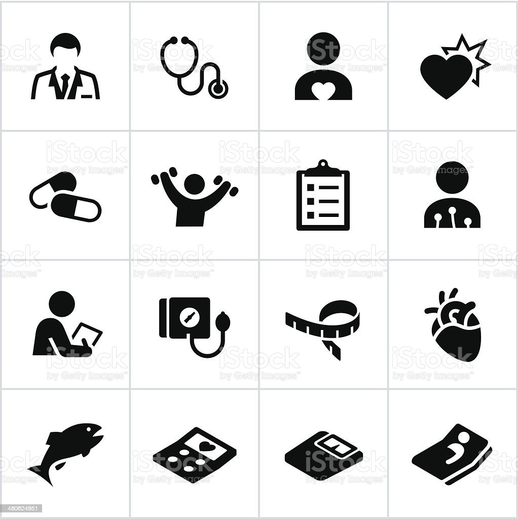 Black Cardiology Icons vector art illustration