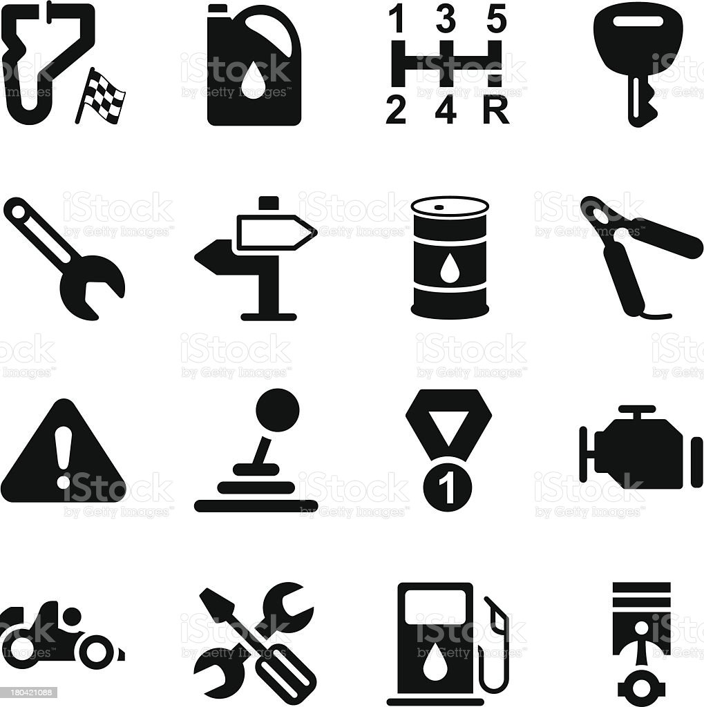 Black cartoon motor racing icons on a white background vector art illustration