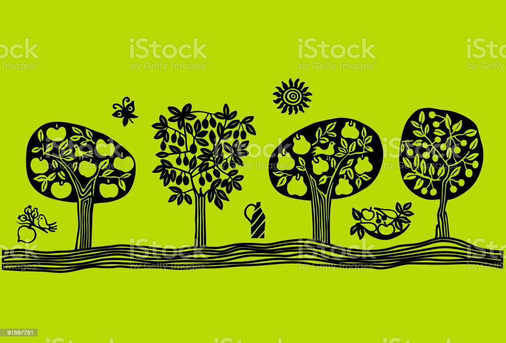 Black cartoon of row of fruit trees on green backdrop vector art illustration