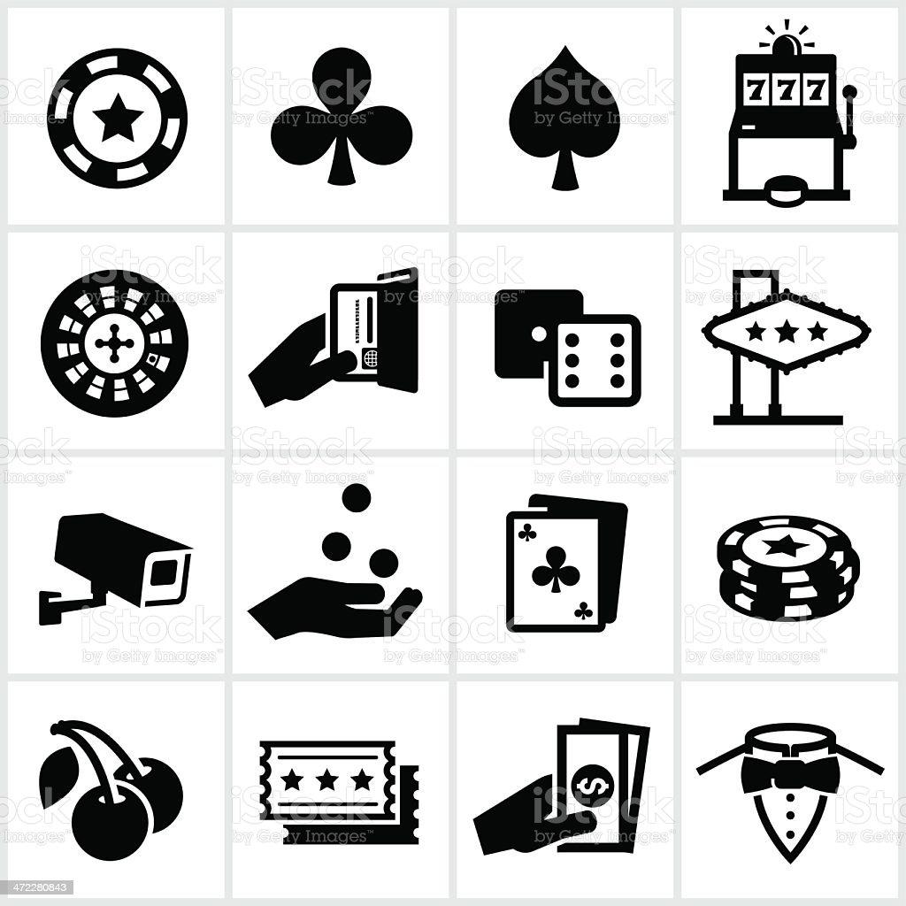 Black Casino Icons vector art illustration