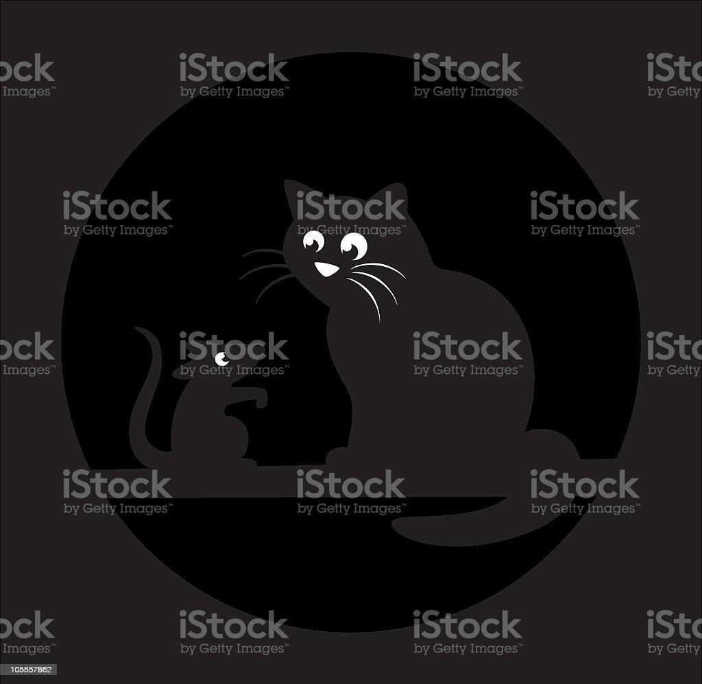 Black cat and rat royalty-free stock vector art
