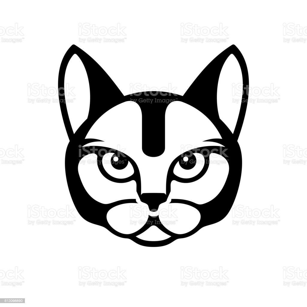 Black Cat Face Icon on White Background. Vector vector art illustration