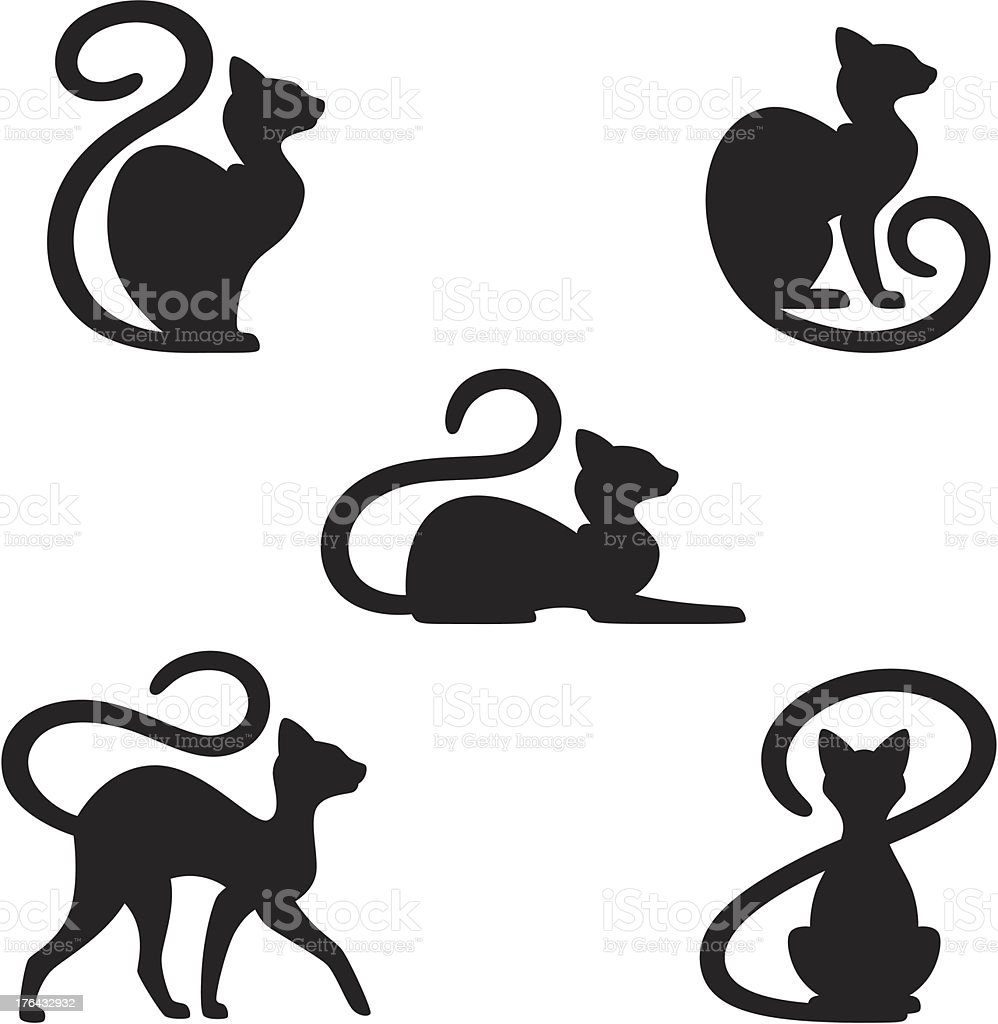 Black cat in many different positions vector art illustration