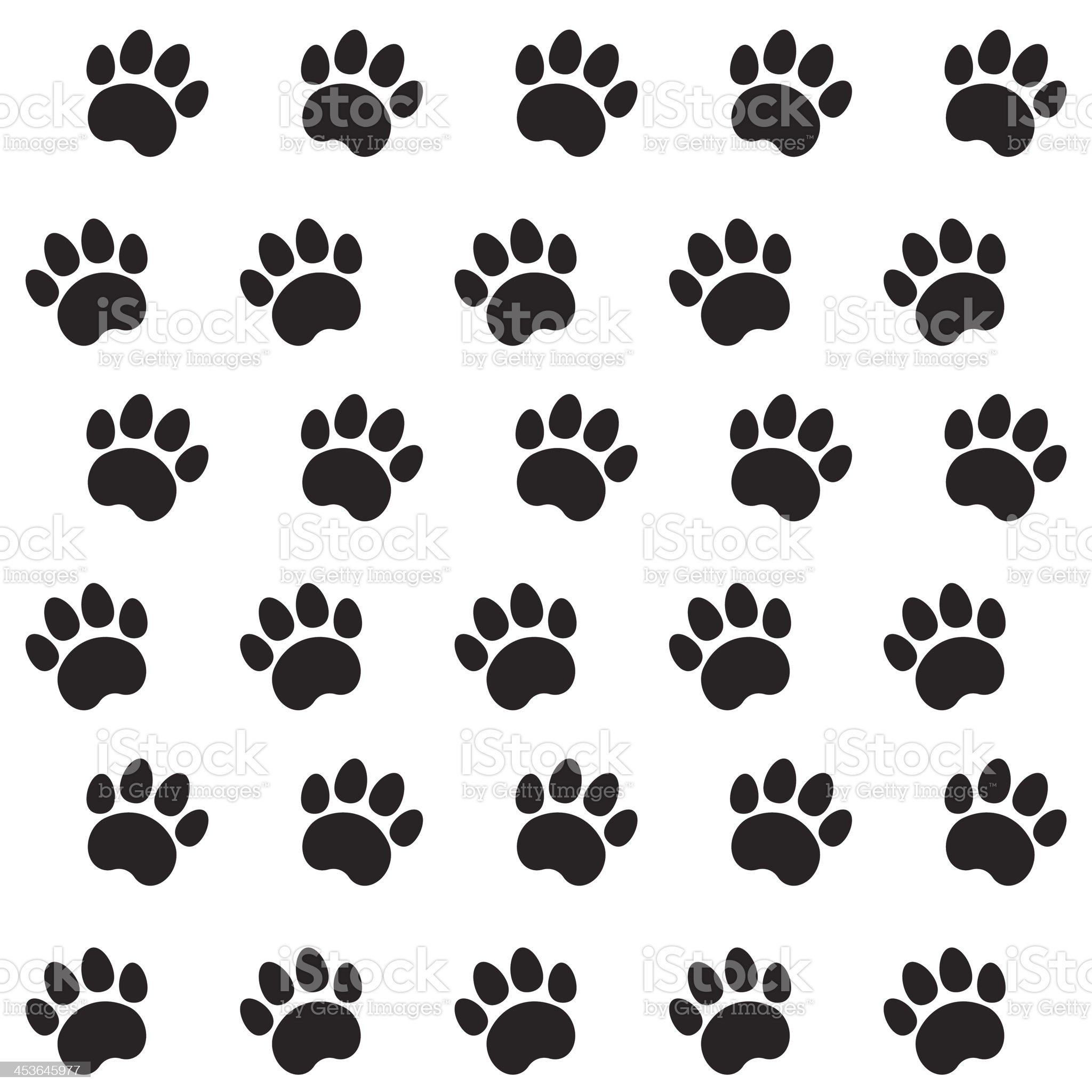 Black cat prints on white background royalty-free stock vector art
