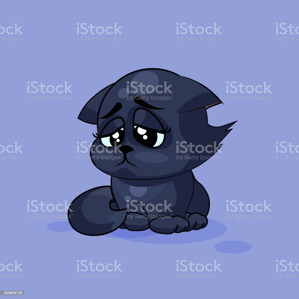 Vector Stock Illustration isolated Emoji character cartoon black cat...