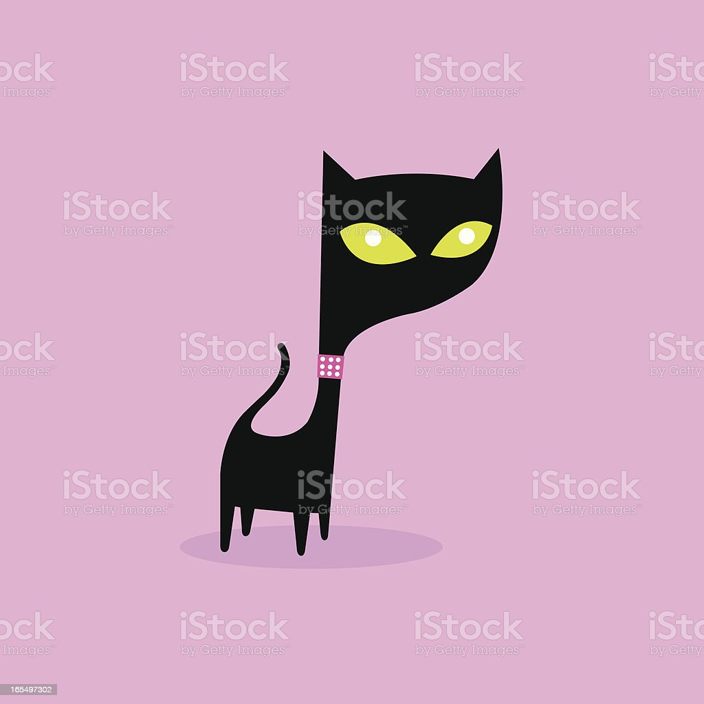 Black Cat with Bling royalty-free stock vector art