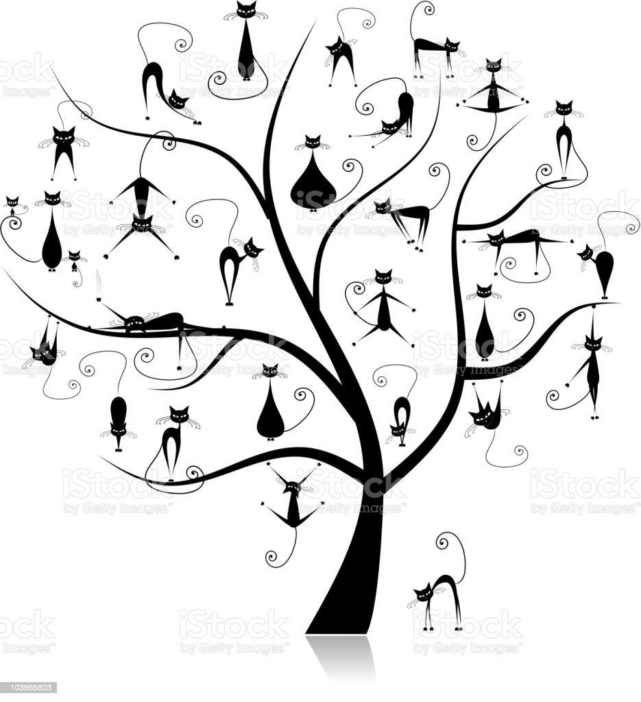 Black cats, family tree royalty-free stock vector art