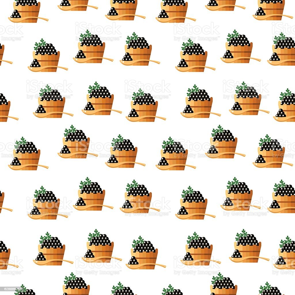 Black caviar in a wood barrel and spoon seamless pattern vector art illustration
