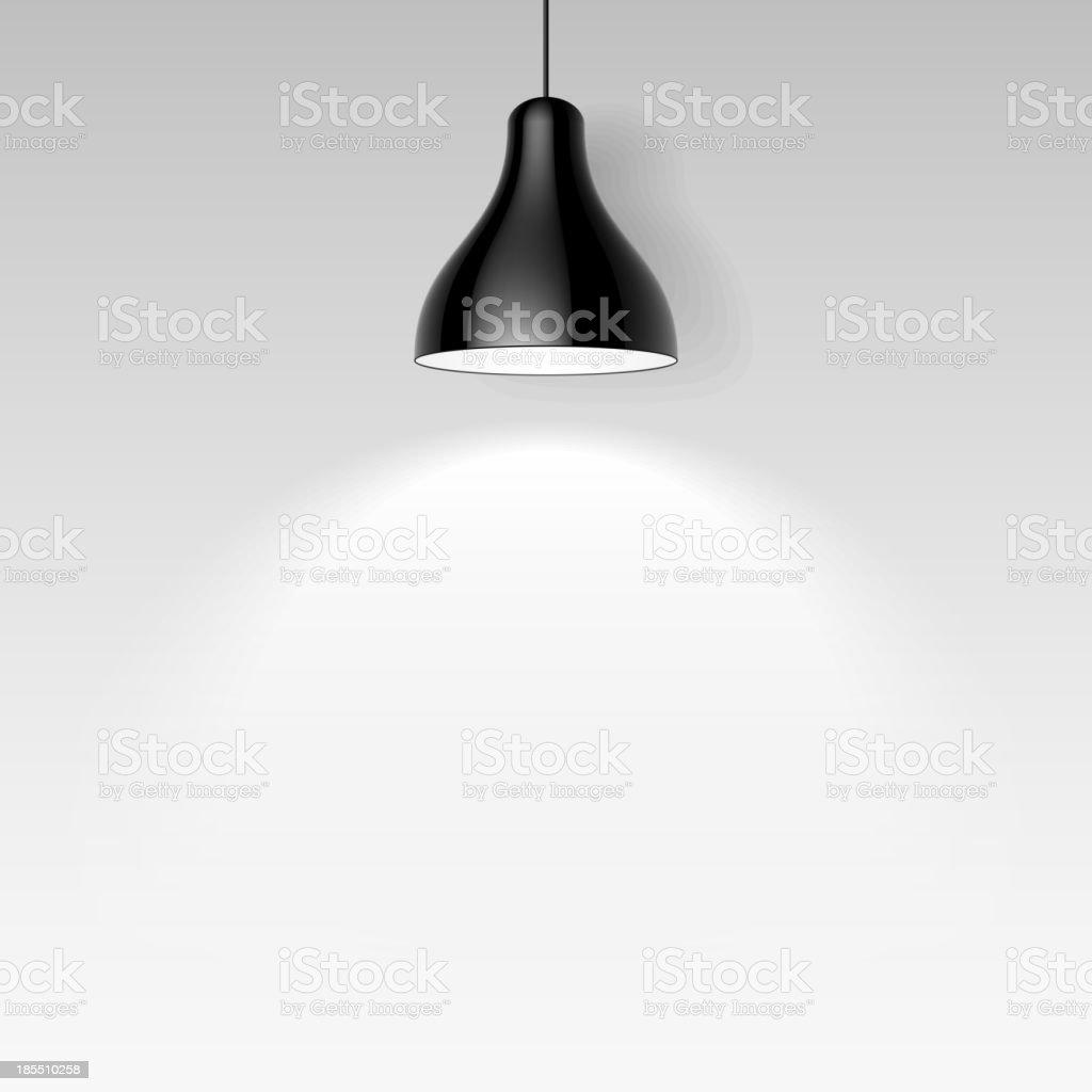 Black ceiling lamp vector art illustration