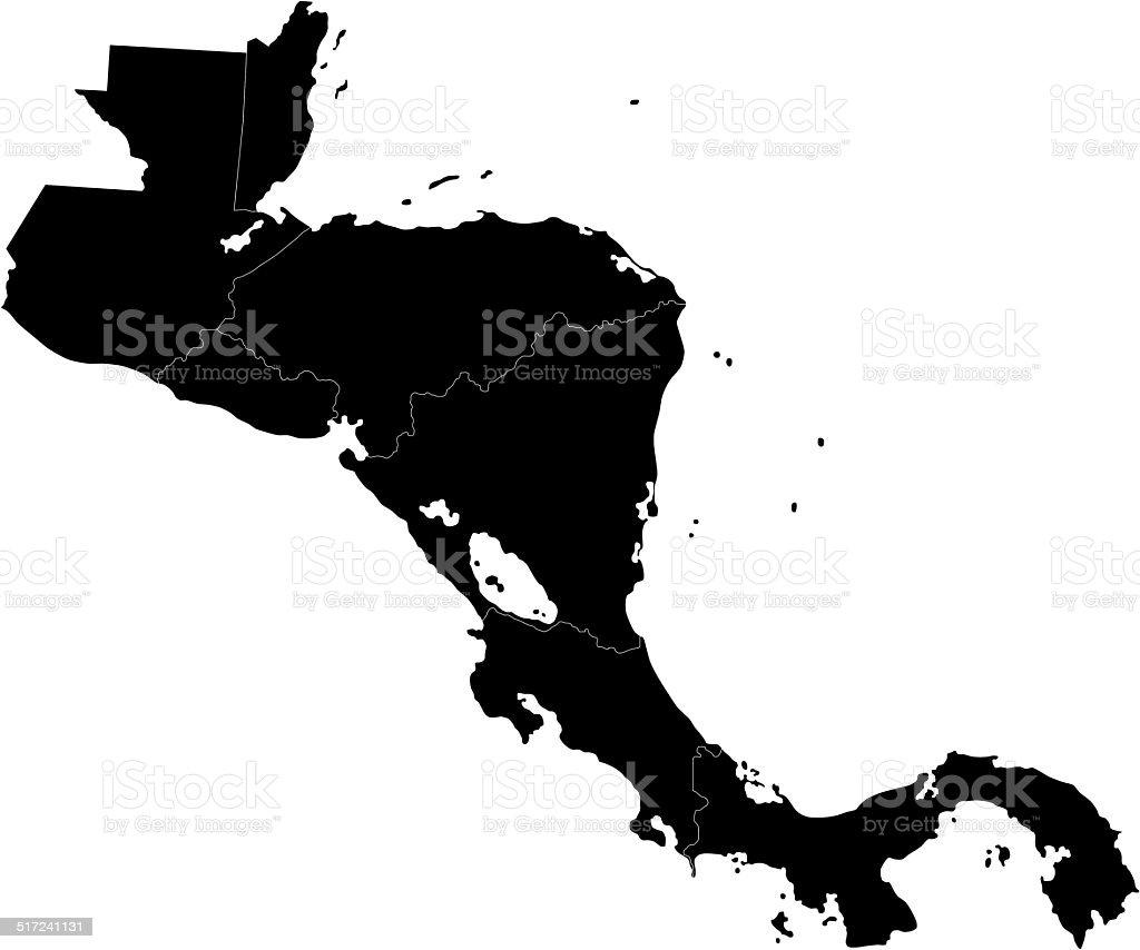 Black Central America map vector art illustration