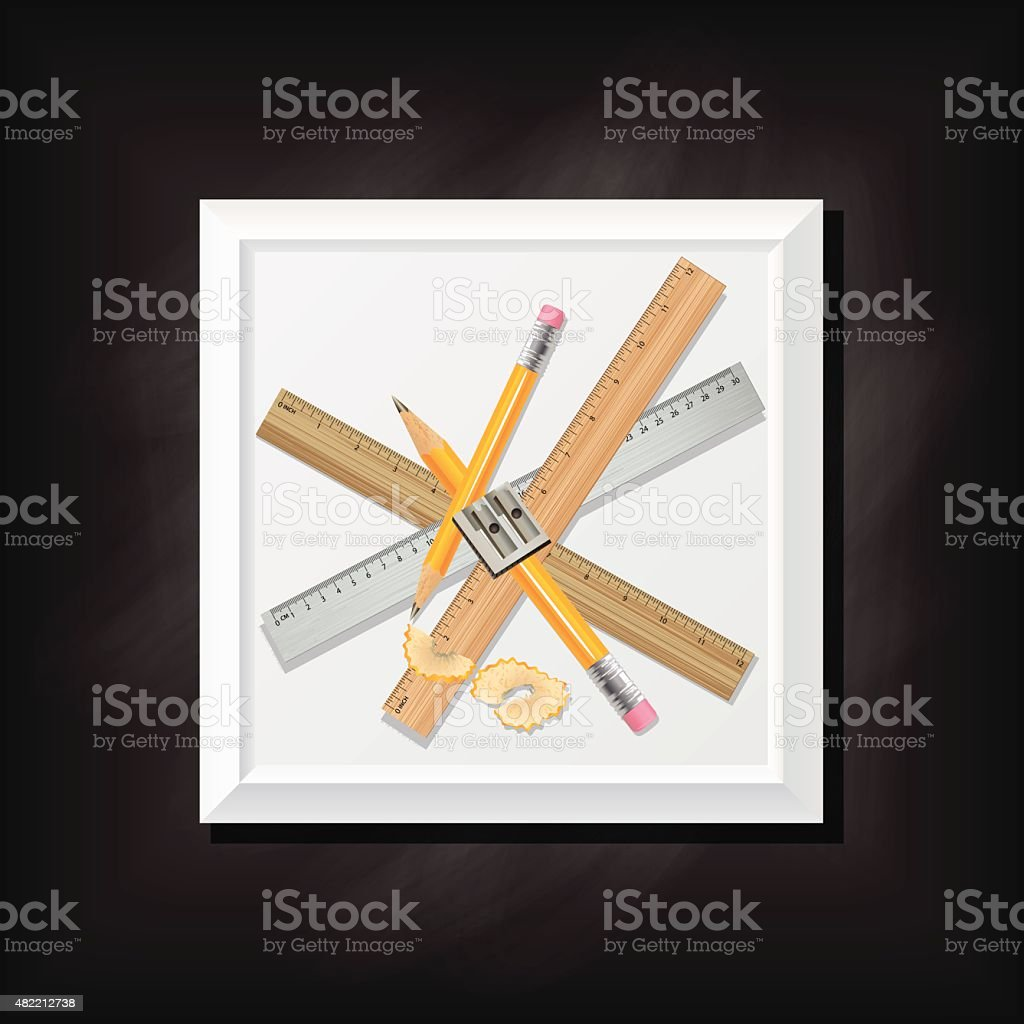 Black Chalkboard Background With a Square Icon And Ruler vector art illustration
