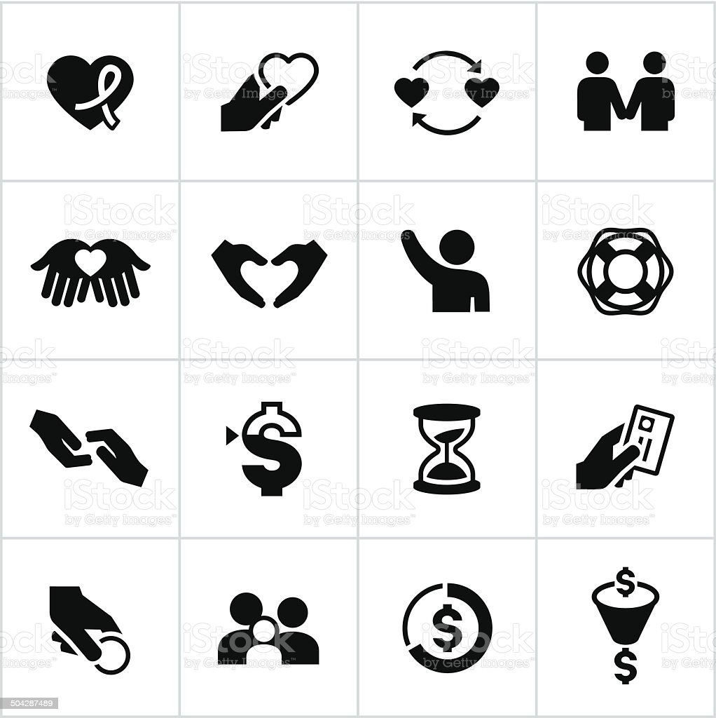 Black Charity Icons vector art illustration