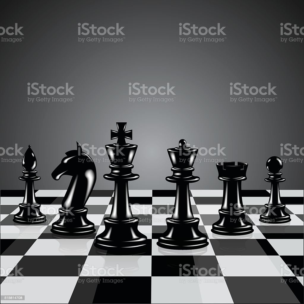 Black chess pieces vector art illustration