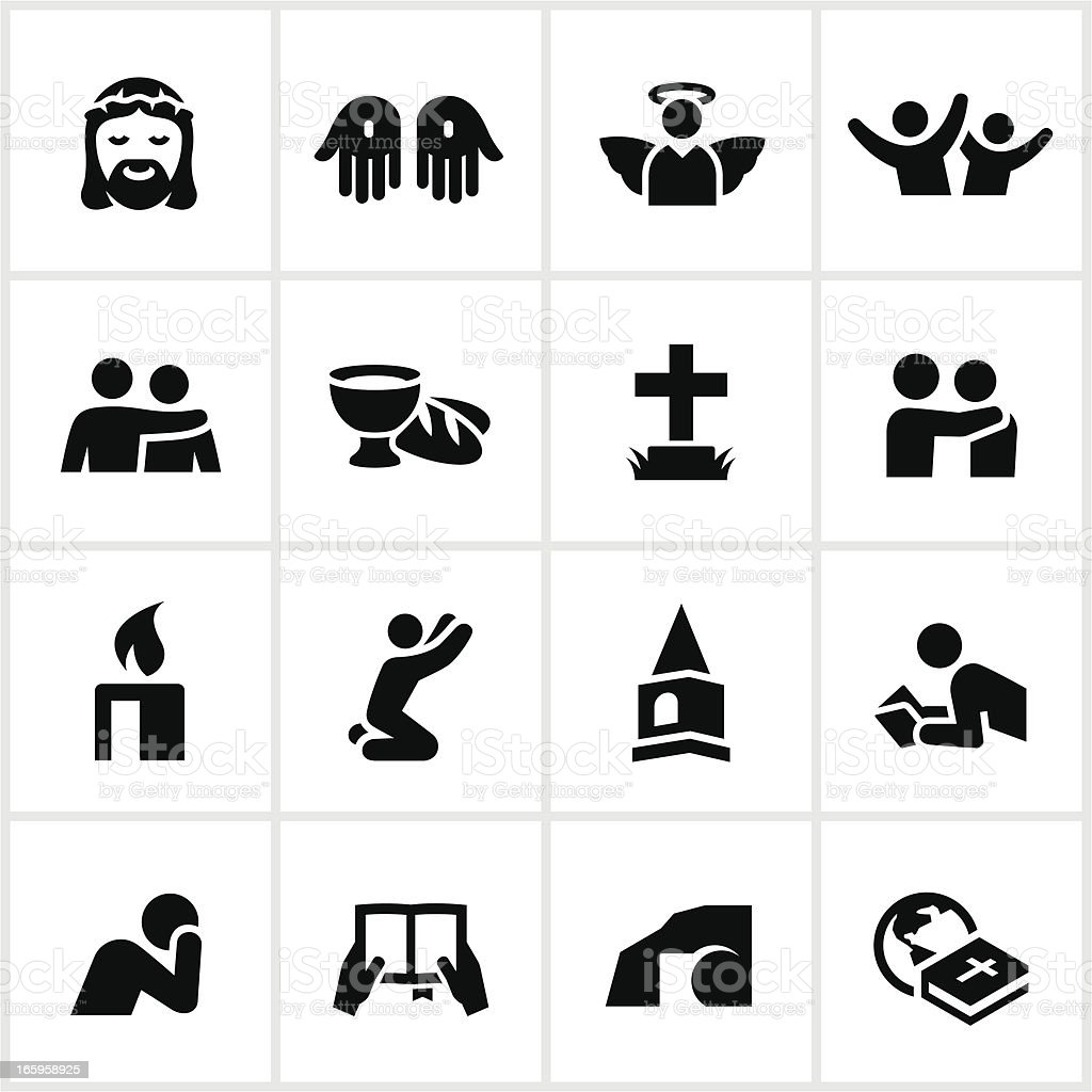 Black Christian Faith Icons vector art illustration