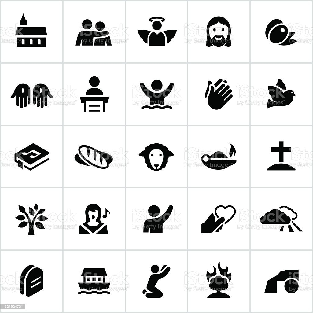 Black Christianity Icons vector art illustration