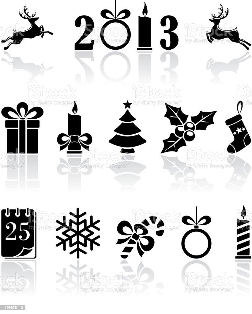 Black Christmas icons royalty-free stock vector art