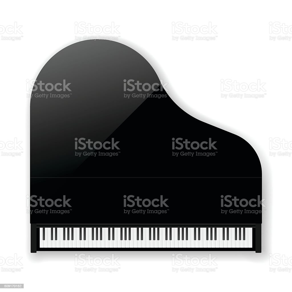 Black Classic Grand Piano. Vector vector art illustration