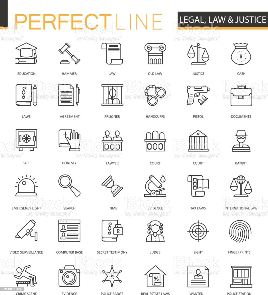 Black classic web Law and justice icons set. vector art illustration