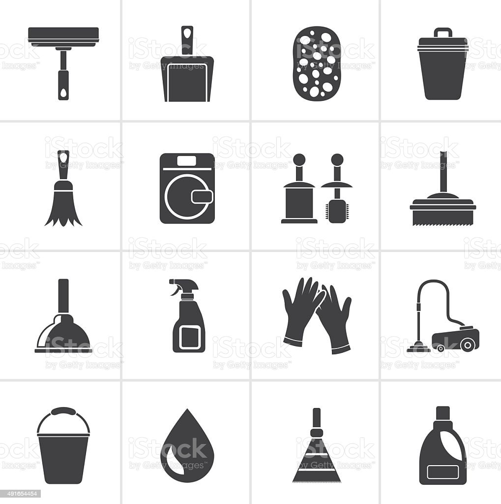 Black Cleaning and hygiene icons vector art illustration