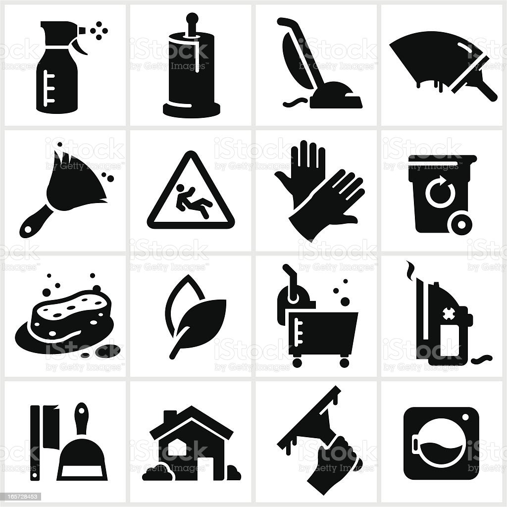 Black Cleaning Icons vector art illustration