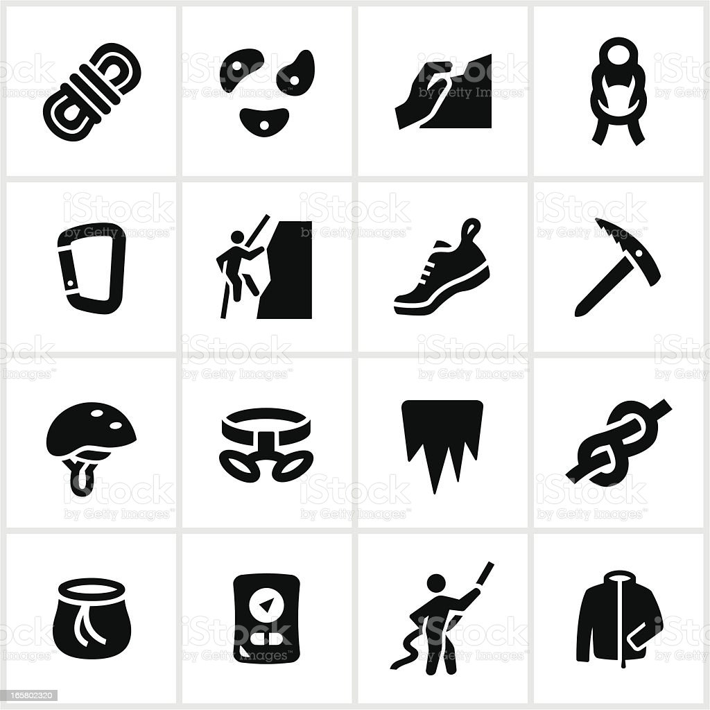 Black Climbing Icons vector art illustration