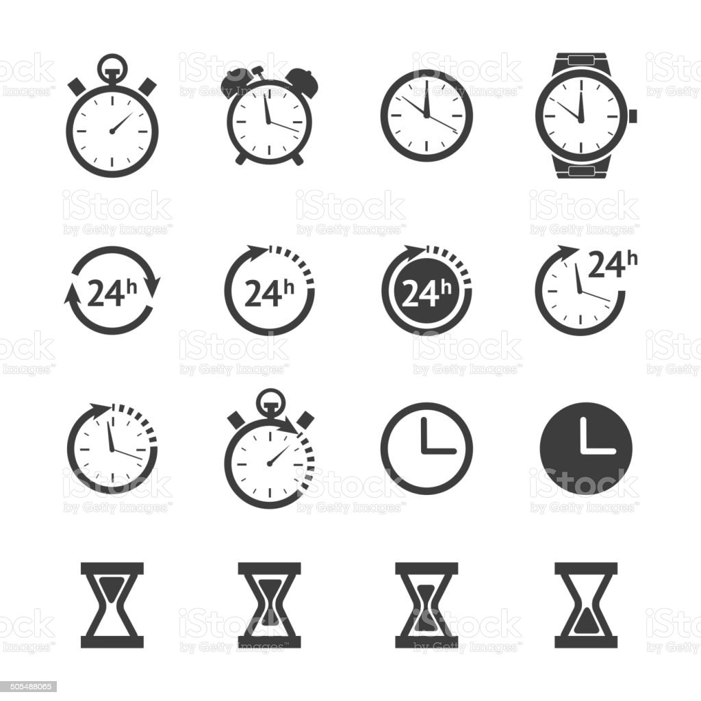 Black clock icons set vector art illustration