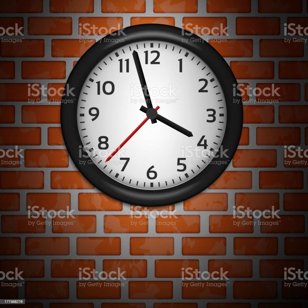 Black Clocks on brick wall royalty-free stock vector art