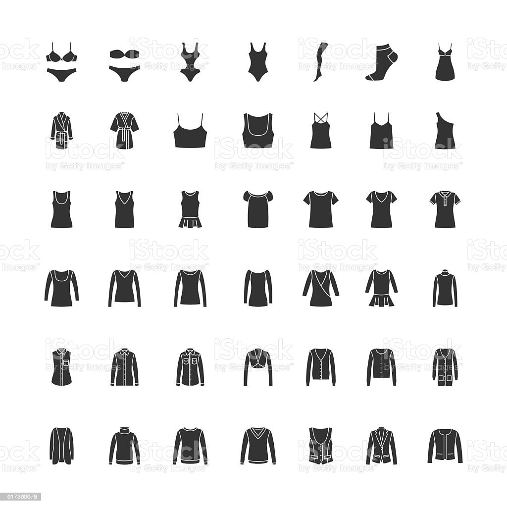 Black clothes icons part 1 vector art illustration