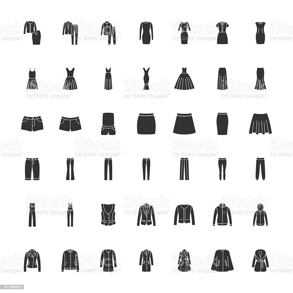 Black clothes icons part 2 vector art illustration