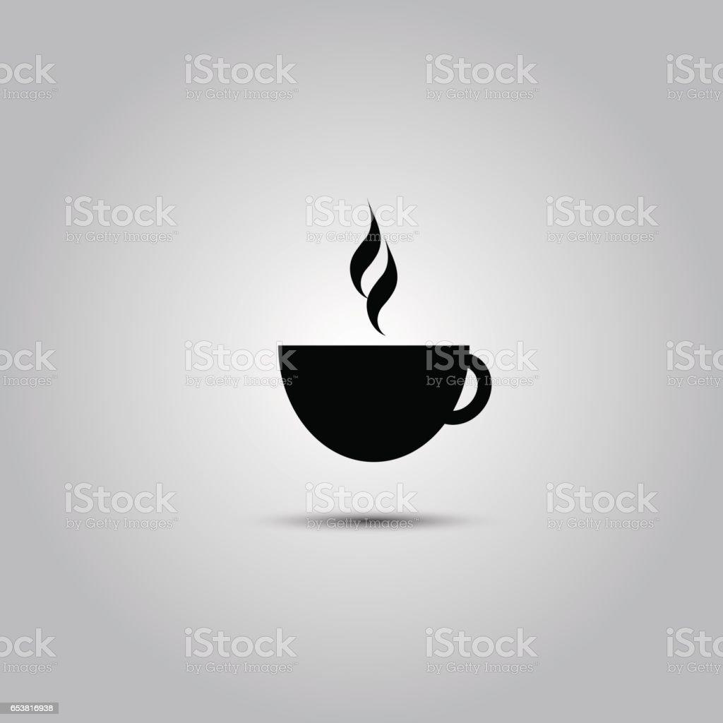 Black coffee cup icon vector art illustration