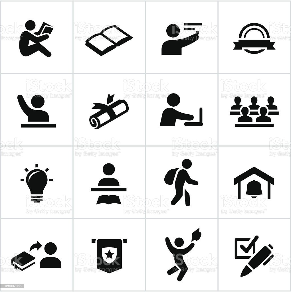 Black College Icons vector art illustration