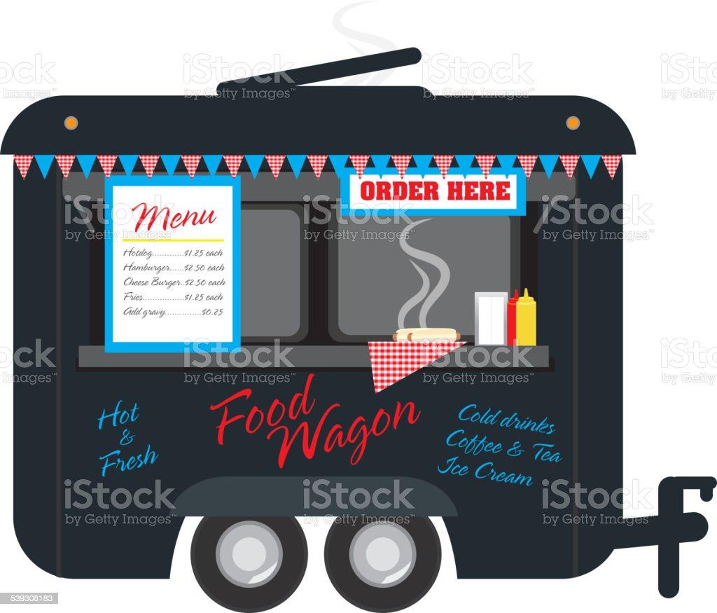 Black colored Food wagon trailer on white background vector art illustration