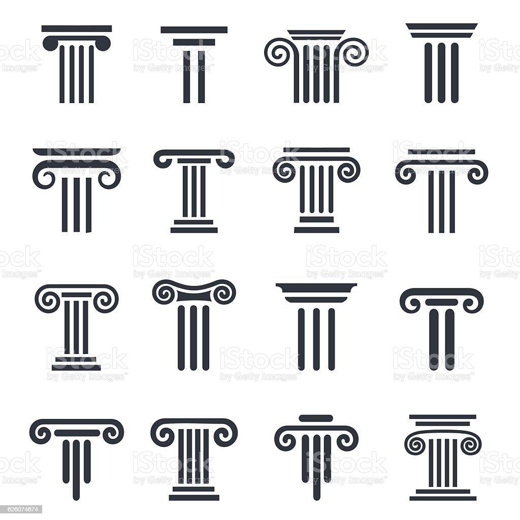 black column icons vector art illustration