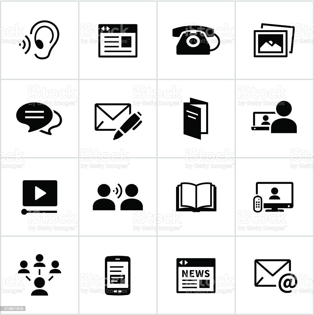 Black Communication Methods Icons vector art illustration