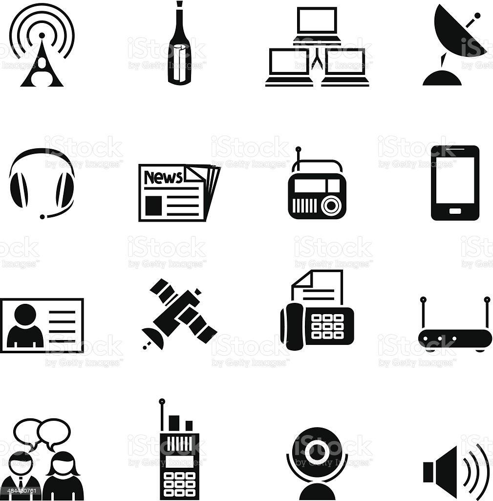 Black communication set  icon vector art illustration