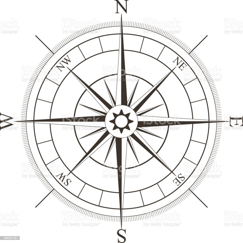 Black compass rose isolated on white vector art illustration