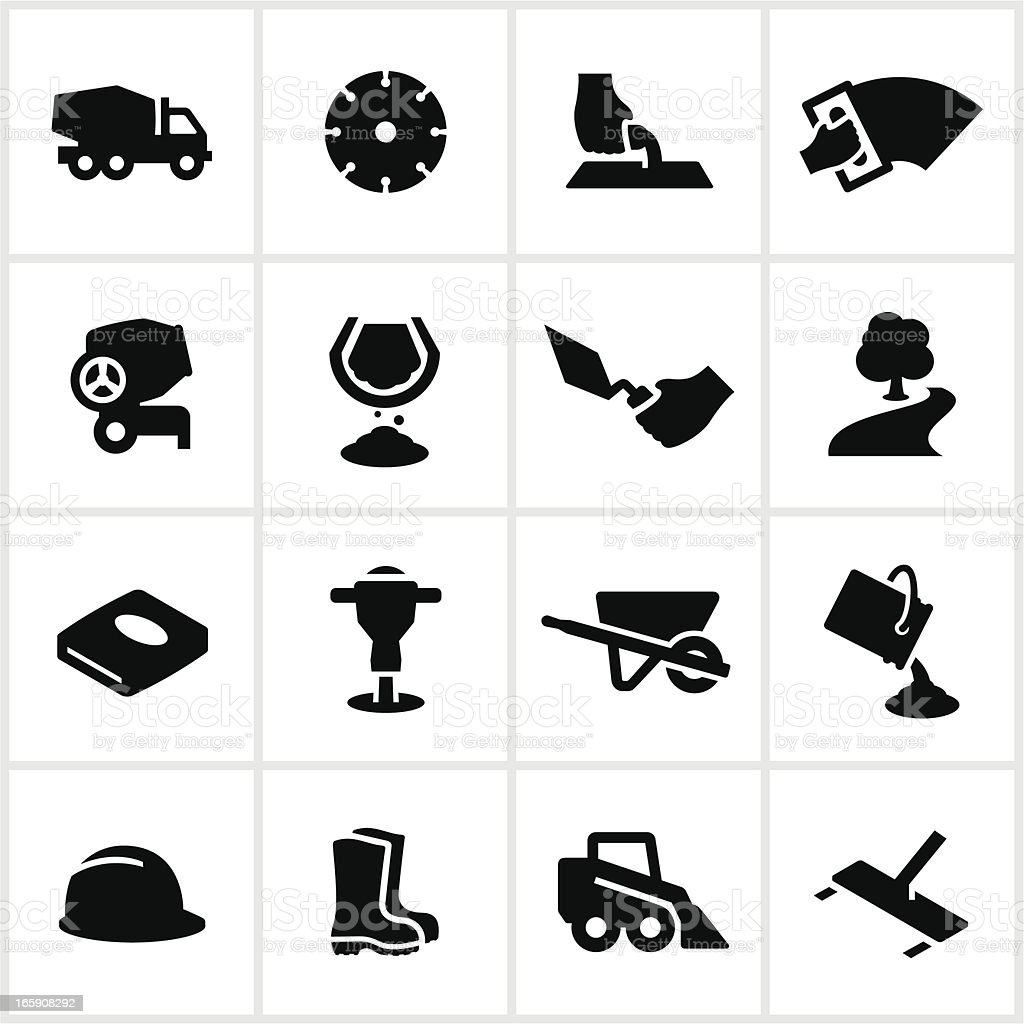 Black Concrete Work Icons vector art illustration