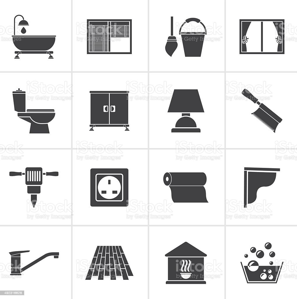 Black Construction and building equipment Icons vector art illustration