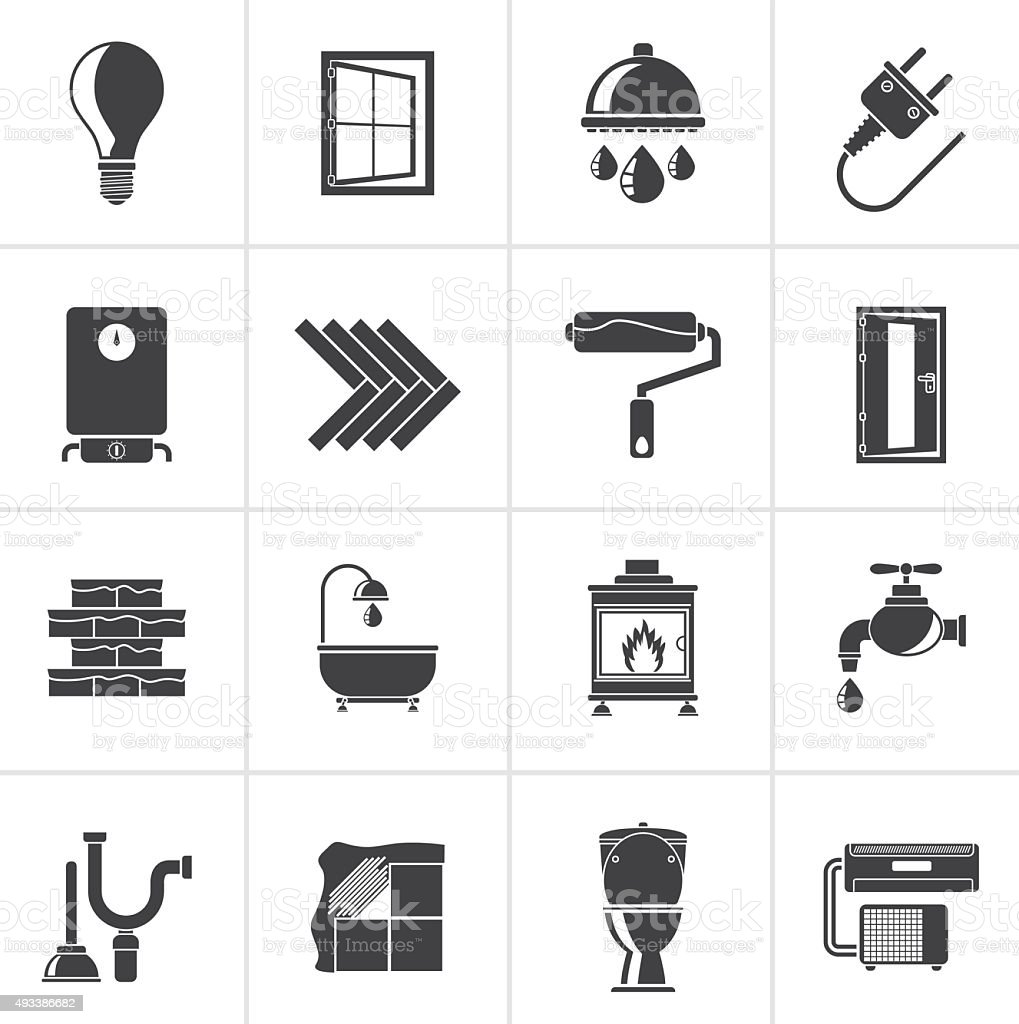 Black Construction and home renovation icons vector art illustration