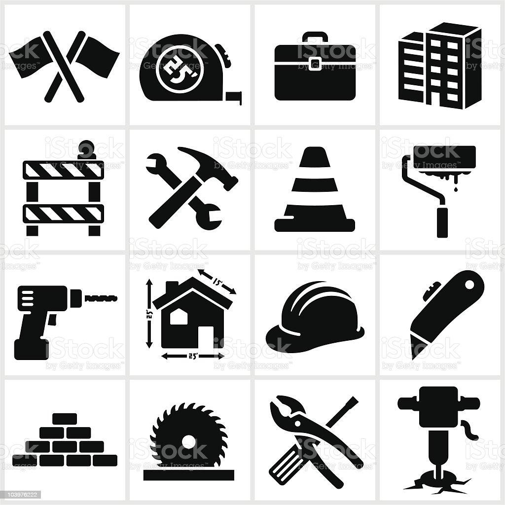 Black Construction Icons vector art illustration