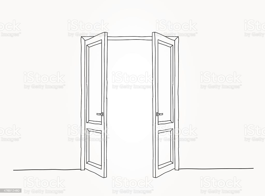 Black contour doors vector art illustration