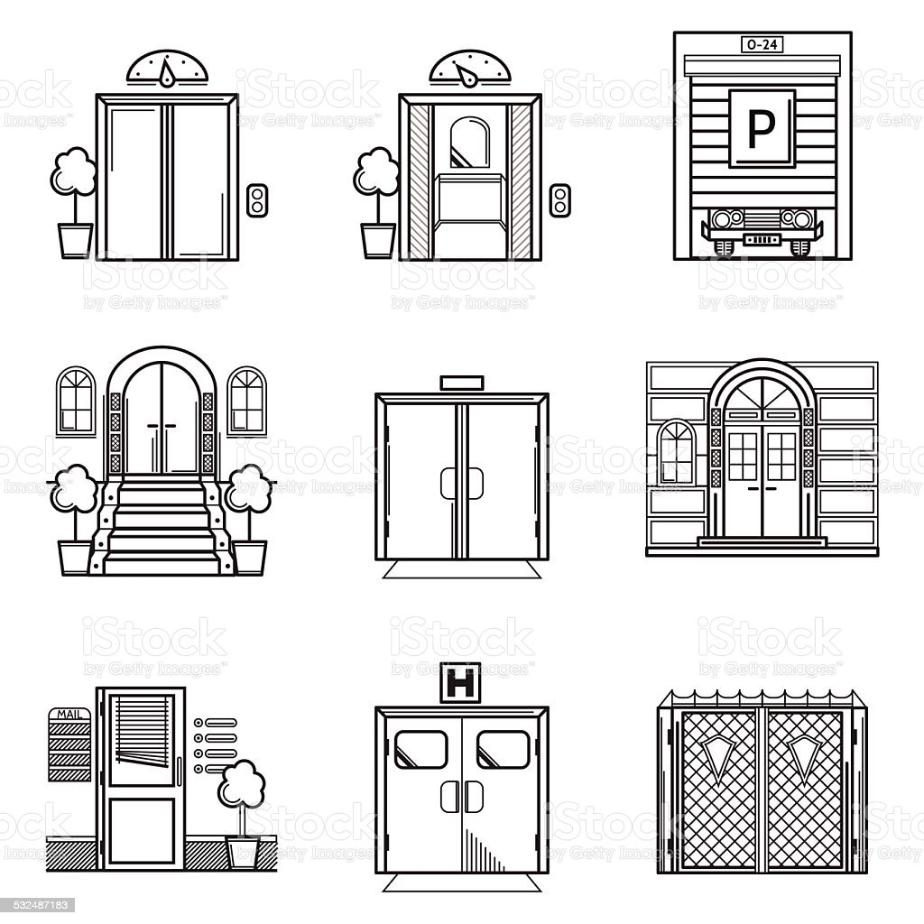 Black contour vector icons for door vector art illustration