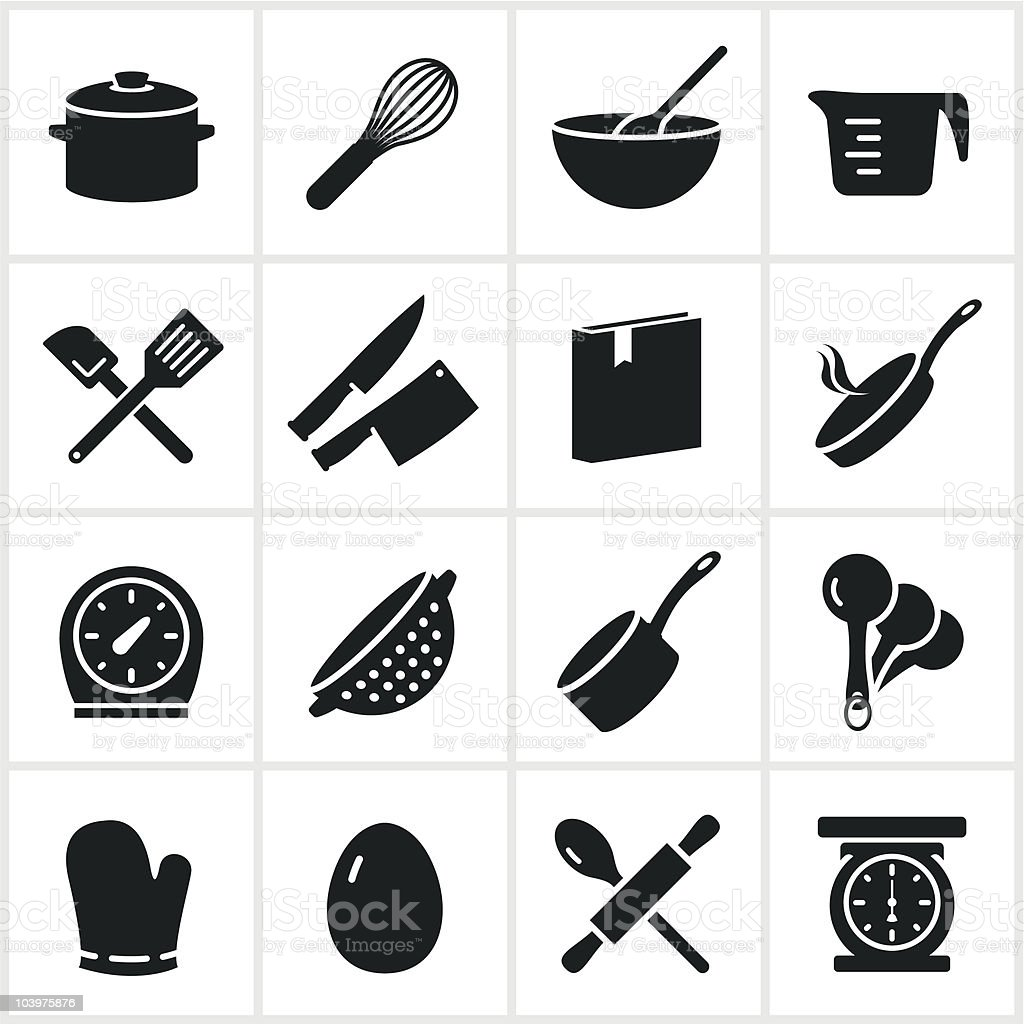 Single Color Cooking Icons vector art illustration