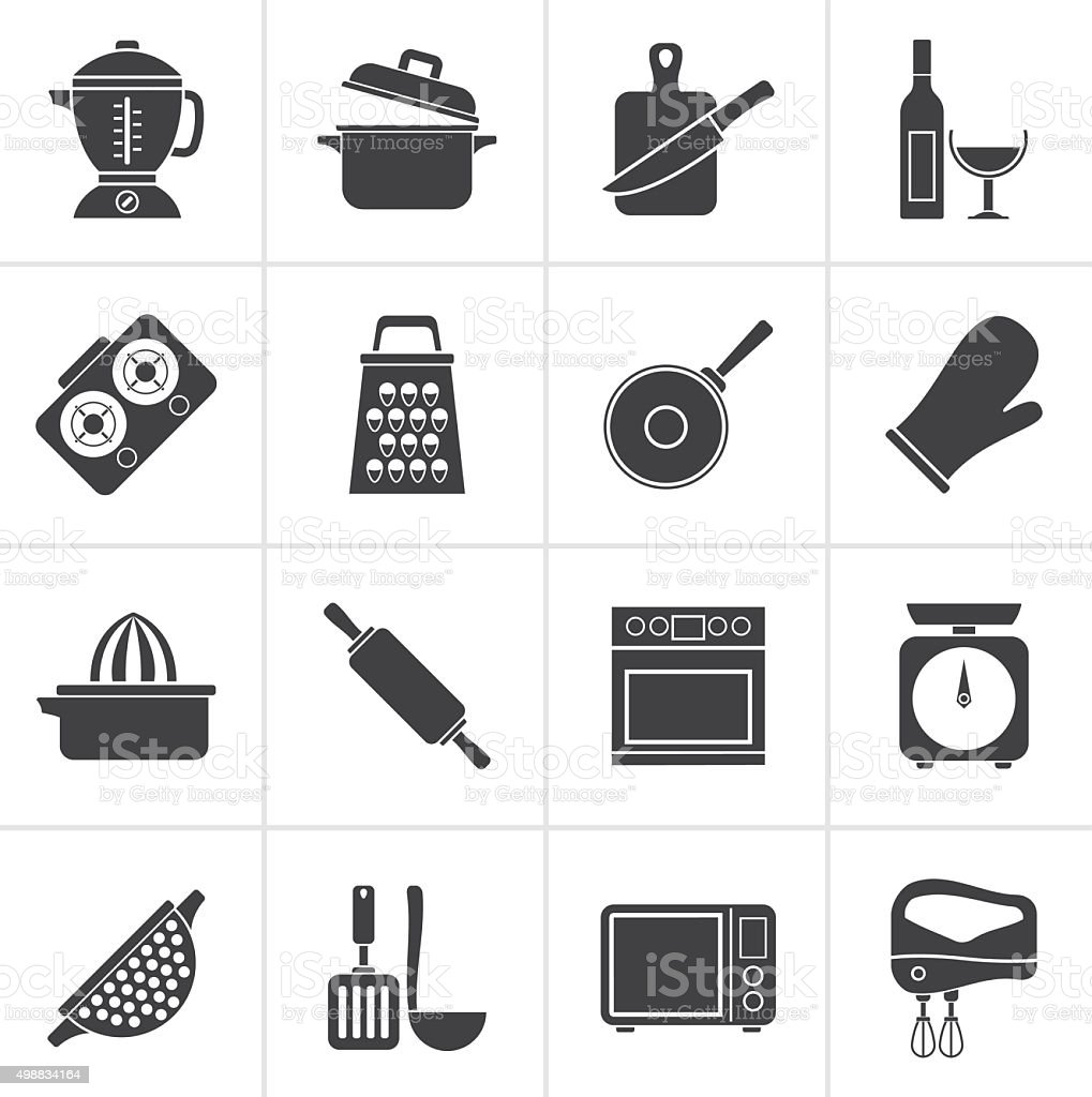 Black cooking tools icons vector art illustration