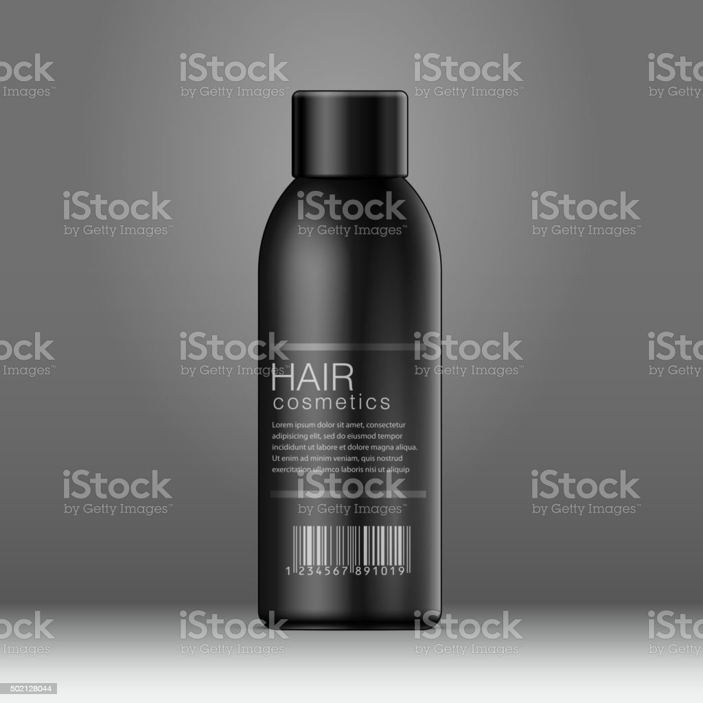Black Cosmetics bottle can, Deodorant vector art illustration