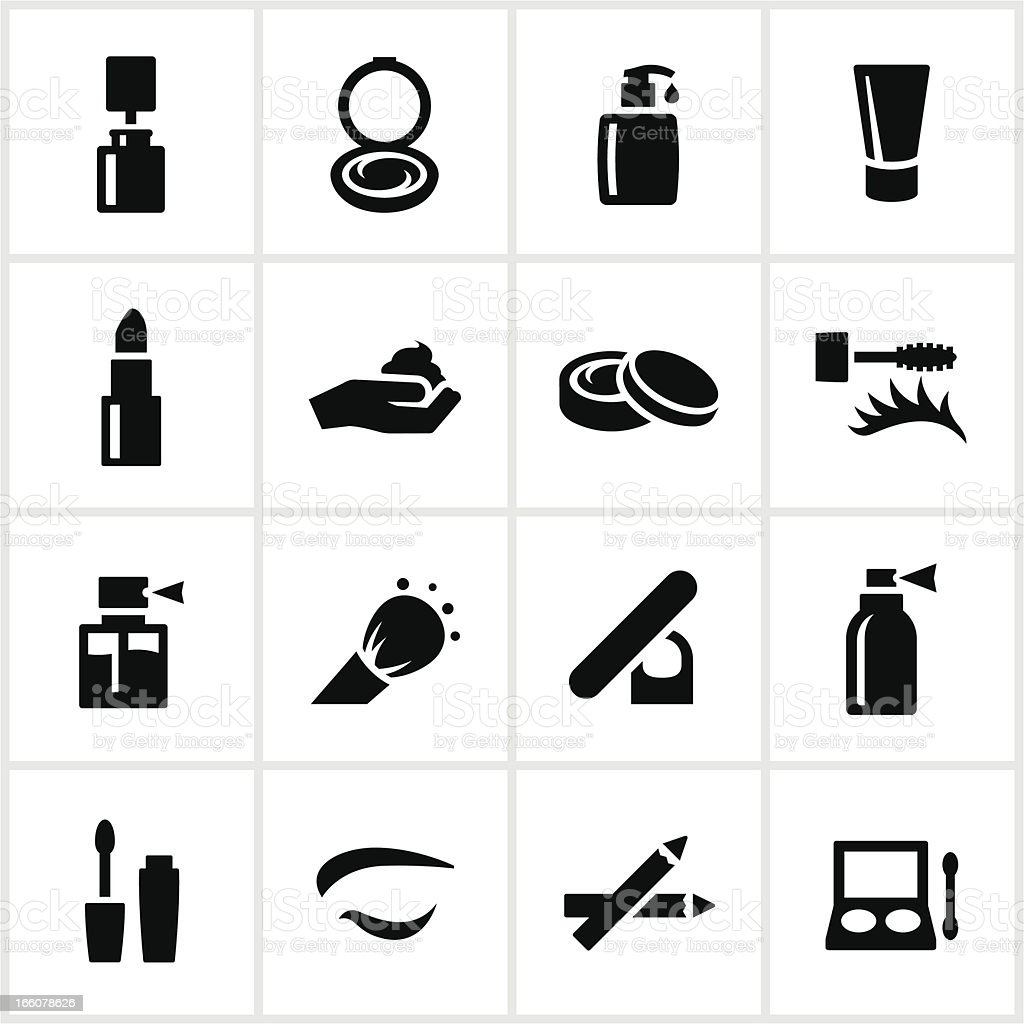 Black Cosmetics Icons vector art illustration