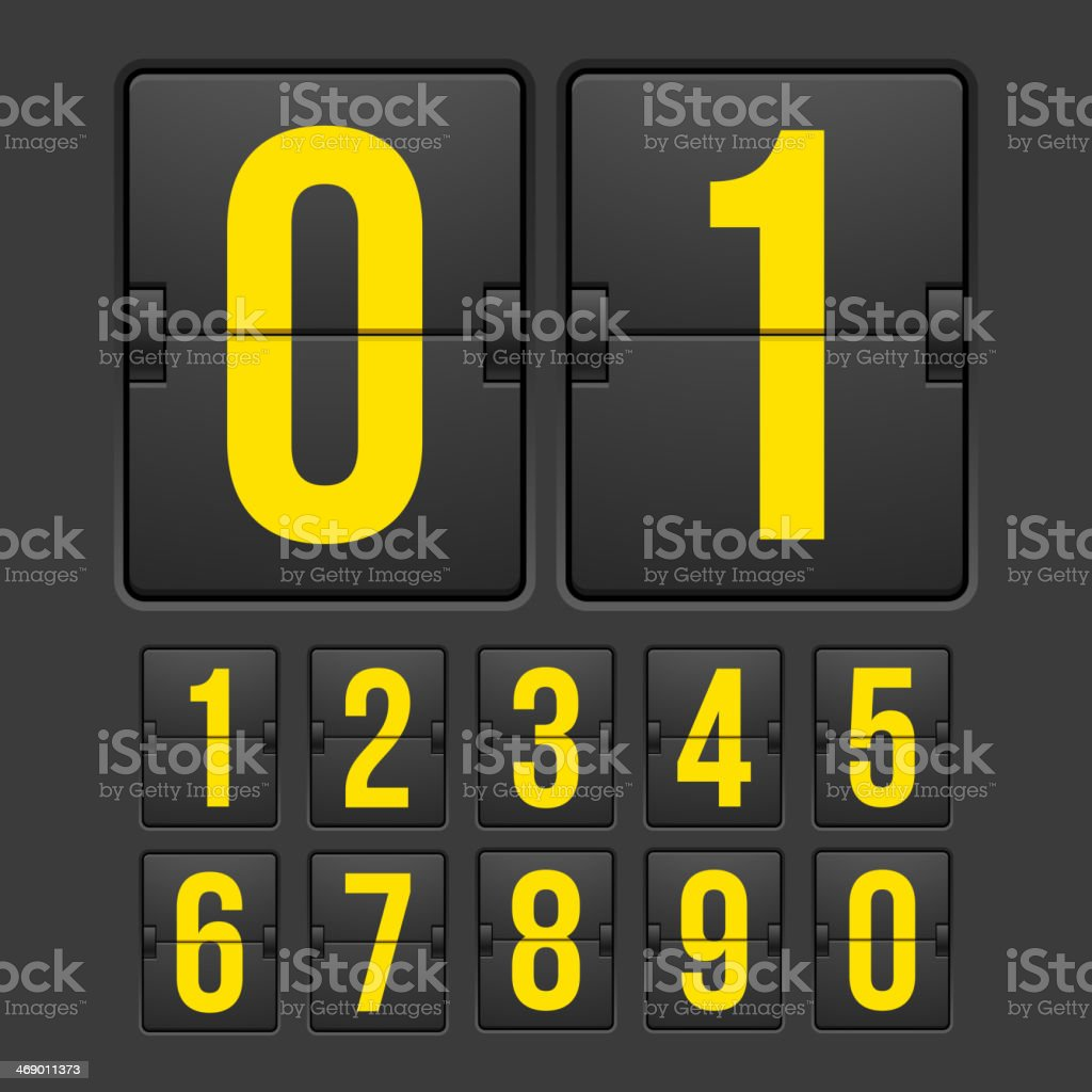 Black countdown timer with yellow numbers vector art illustration