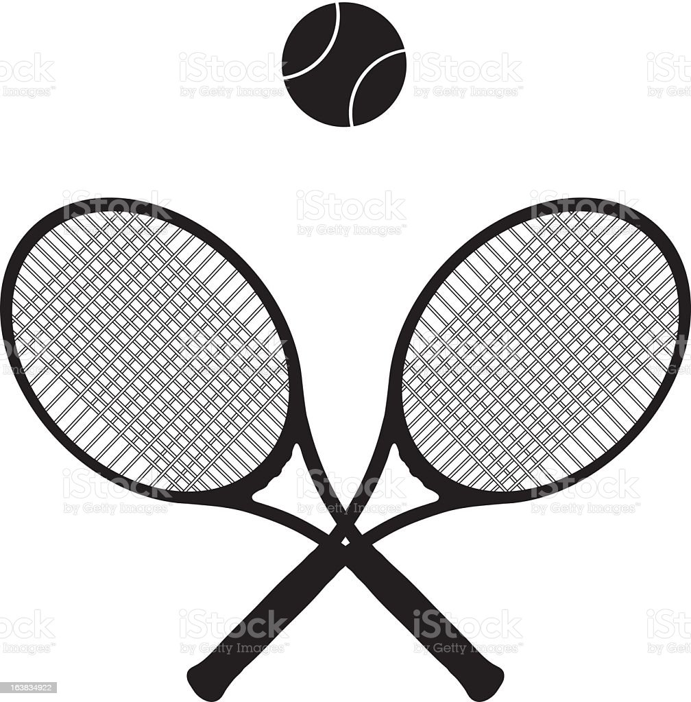 Black, crossed tennis rackets with a black tennis ball above royalty-free stock vector art