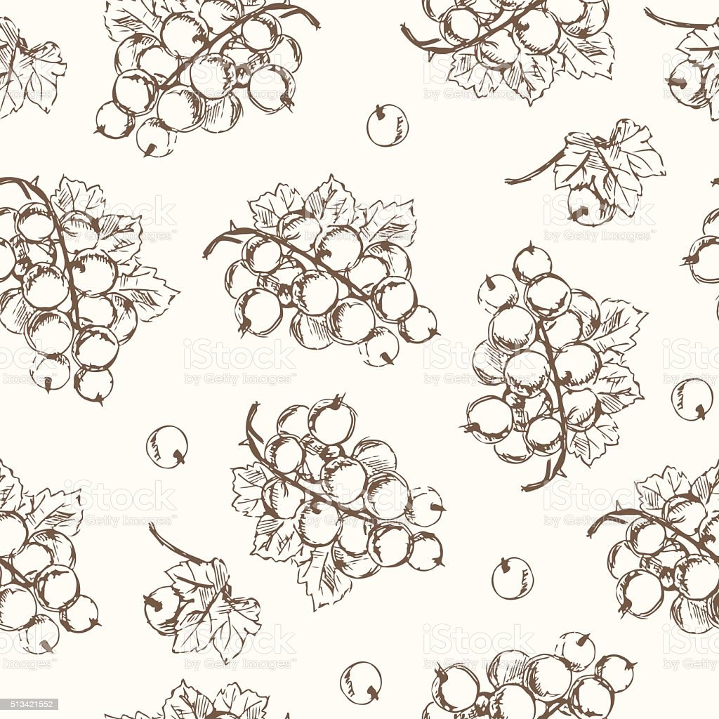 Black currant seamless pattern. Collection of berries. vector art illustration
